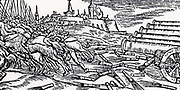 Fire tubes being fired at enemy cavalry from cannon. From 'De la pirotechnia' by Vannoccio Biringuccio (Venice, 1540).  Woodcut.