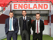 England's Martin Glenn, Gareth Southgate and Dan Ashworth look on during the press conference at Wembley Stadium, London. Picture date December 1st, 2016 Pic David Klein/Sportimage
