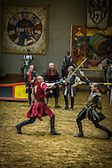 Sumeg, Balaton, Hungary, August 2015.  medieval knight games are held in the Sümeg Castle, with a Spanish equestrian carousel show, weaponry show, and a knights' tournament combined with fencing between horsemen and foot soldiers. Sümeg Castle is one of the nicest, unharmed remained Hungarian castle built on sümeg's bald hill. All the parts can be seen: inner and external castle and the citadel. The oldest part was constructed in around 1260. Lake Balaton is a freshwater lake in the Transdanubian region of Hungary. It is the largest lake in Central Europe and one of the region's foremost tourist destinations. The mountainous region of the northern shore is known both for its historic character and as a major wine region, while the flat southern shore is known for its resort towns. Photo by Frits Meyst / MeystPhoto.com
