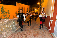 An estudiantina (strolling minstrel group) performing in the narrow windy streets of Guanajuato, Mexico