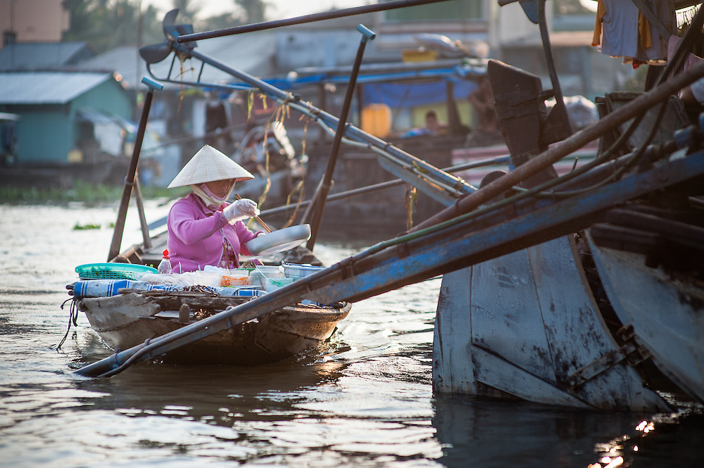 Boat food stall on Mekong River