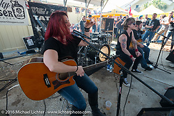 """Jasmine Cain playing some acoustic at Willie's Tropical Tattoo """"Chopper Time"""" old school chopper show during Daytona Bike Week's 75th Anniversary event. Ormond Beach, FL, USA. Thursday March 10, 2016.  Photography ©2016 Michael Lichter."""