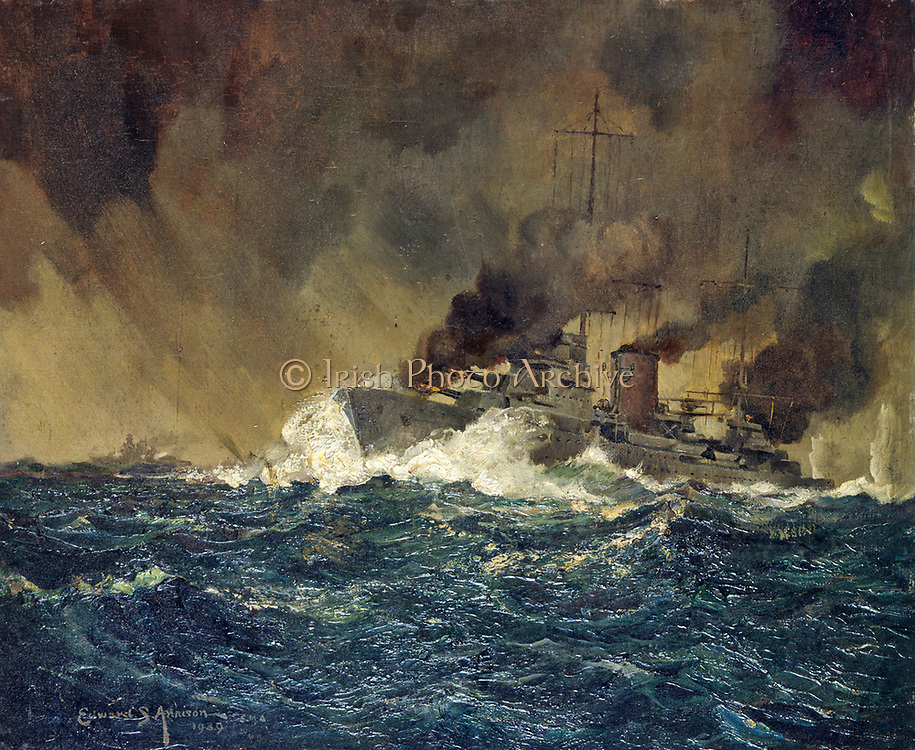 Edward S Annison, The 'Achilles' opening the attack on the 'Graf Spee', 1939. The Admiral Graf Spee. German naval warship of World War II, along with the Bismarck. Her size was limited to that of a cruiser by the Treaty of Versailles, but she was much more heavily armed than a cruiser due to innovative weight-saving techniques employed in her construction. She was sent to the Atlantic Ocean as a commerce raider in 1939, where she sank nine Allied merchant ships. The ship was pursued by British naval vessels in December 1939. The Battle of the River Plate ensued, during which the Graf Spee was damaged. She docked for repairs in the neutral port of Montevideo, but was forced by international law to leave within 72 hours. Faced with what he believed to be overwhelming odds, the captain scuttled his ship rather than risk the lives of his crew.