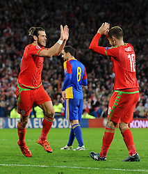 Gareth Bale of Wales celebrates his goal with Aaron Ramsey of Wales to make it 2-0 - Mandatory byline: Dougie Allward/JMP - 07966 386802 - 13/10/2015 - FOOTBALL - Cardiff City Stadium - Cardiff, Wales - Wales v Andorra - European Qualifier 2016 - Group B