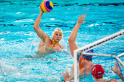 Eelco Wagenaar of the Netherlands in action against Marko Petkovic of Montenegro during the Olympic qualifying tournament. The Dutch water polo players are on the hunt for a starting ticket for the Olympic Games on February 19, 2021 in Rotterdam