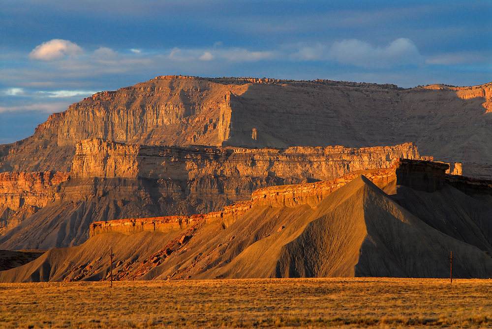 Book Cliffs at sunset, Utah.