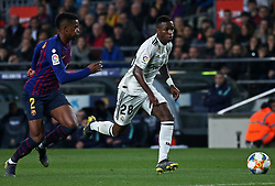 February 6, 2019 - Barcelona, Spain - Vinicius Junior and Nelson Semedo during the match between FC Barcelona and Real Madrid corresponding to the first leg of the 1/2 final of the spanish cup, played at the Camp Nou Stadium, on 06th February 2019, in Barcelona, Spain. (Credit Image: © Joan Valls/NurPhoto via ZUMA Press)