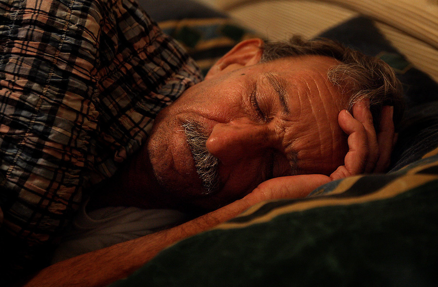 His first night out of prison, Pop falls to sleep in a comfortable bed at Coy and Karen Honeycutt's home.
