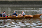 Greater London. United Kingdom, Rowing out to join the pre boat race flotilla from Putney to Mortlake, University Boat Races , Cambridge University vs Oxford University. Putney to Mortlake,  Championship Course, River Thames, London. <br /> <br /> <br /> <br /> Saturday  24/03/2018<br /> <br /> [Mandatory Credit:Peter SPURRIER/Intersport Images]