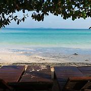 Beach beds in Siam bay on Raya Island, Thailand