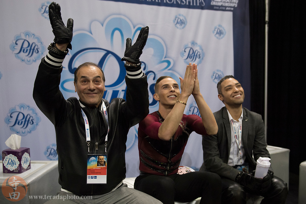 January 4, 2018; San Jose, CA, USA; Adam Rippon in the kiss and cry after skating in the mens short program during the 2018 U.S. Figure Skating Championships at SAP Center.