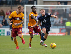 Motherwell's Richard Tai, Motherwell's Gael Bigirimana  and Dundee's Calvin Miller. Dundee 1 v 3 Motherwell, SPFL Ladbrokes Premiership game played 1/9/2018 at Dundee's Kilmac stadium Dens Park