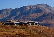 Alaska. Autumn view of Eielson National Park Visitor Center, in Denali Natl. Park.