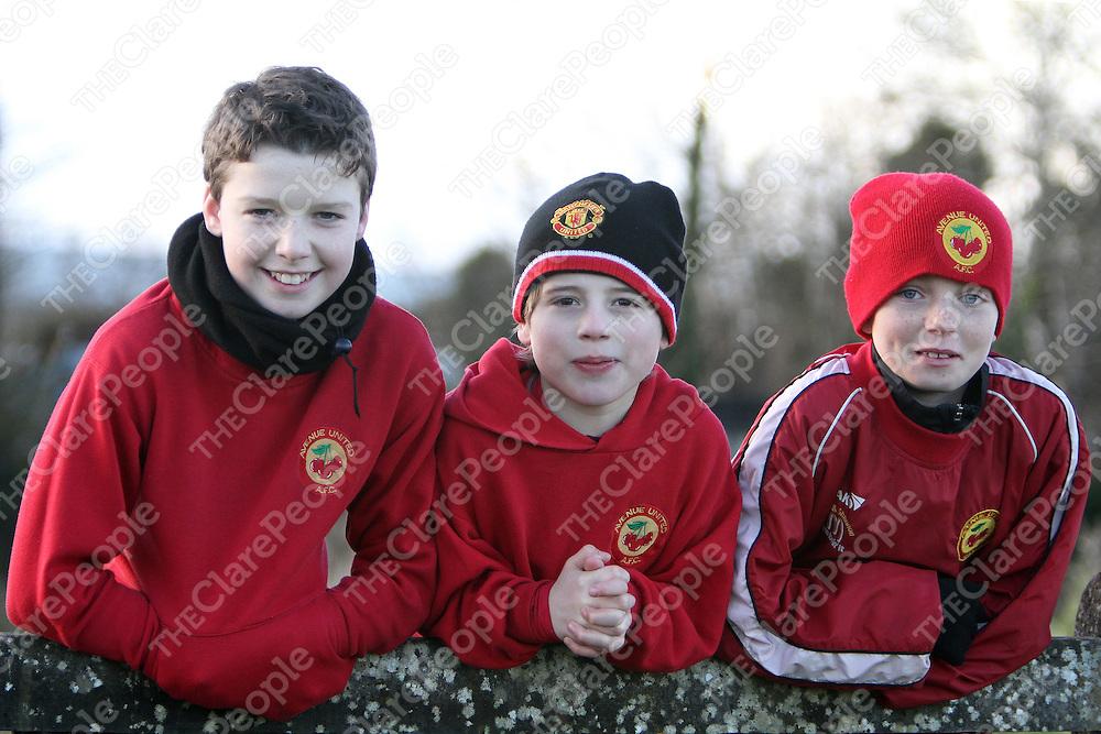 Avenue Utd's supporters Ronan Kerin, Gavin D'Auria & Jamie Roche at the U16 Cup Final. - Photograph by Flann Howard