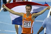 Photo: Rich Eaton.<br /> <br /> EAA European Athletics Indoor Championships, Birmingham 2007. 04/03/2007. Arnoud Okken of Holland wins gold in the mens 800m final