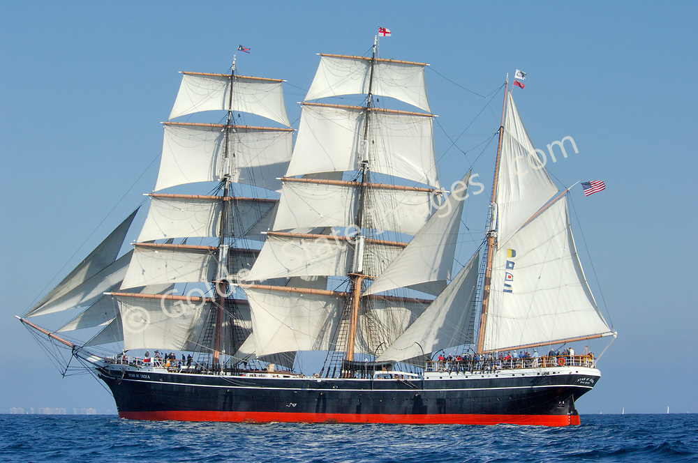 Star of India under sail off Point Loma.<br /> <br /> The worlds oldest active ship originally commisioned in 1863. At the time she was considered state of the art incorporating both iron and wood construction.