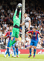 Football - 2018 / 2019 Premier League - Fulham vs. Crystal Palace<br /> <br /> Wayne Hennessey (Crystal Palace) at full stretch to prevent the cross from reaching Aleksandar Mitrovic (Fulham FC) at Craven Cottage<br /> <br /> COLORSPORT/DANIEL BEARHAM