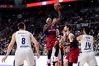 Real Madrid's Jonas Maciulis and Gustavo Ayon and FC Barcelona Lassa's Tyrese Rice and Ante Tomic duringTurkish Airlines Euroleague match between Real Madrid and FC Barcelona Lassa at Wizink Center in Madrid, Spain. March 22, 2017. (ALTERPHOTOS/BorjaB.Hojas)