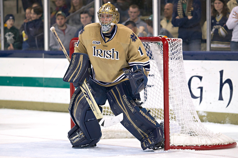 Notre Dame goaltender Steven Summerhays (#1) in second period action during NCAA hockey game between Notre Dame and Ferris State.  The Notre Dame Fighting Irish defeated the Ferris State Bulldogs 4-1 in game at the Compton Family Ice Arena in South Bend, Indiana.