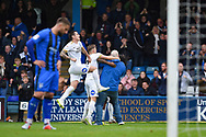 Peterborough United forward Ivan Toney (17) (hidden) celebrates with team mates and pitch invading fan  during the EFL Sky Bet League 1 match between Gillingham and Peterborough United at the MEMS Priestfield Stadium, Gillingham, England on 22 September 2018. Picture by Martin Cole