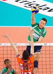 Andrea Rossi of Cuneo during volleyball match between ACH Volley Ljubljana and Bre Banca Lannutti Cuneo (ITA) in Playoff 12 game of CEV Champions League 2012/13 on January 15, 2013 in Arena Stozice, Ljubljana, Slovenia. (Photo By Vid Ponikvar / Sportida.com)