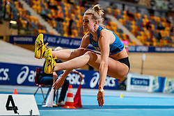 Anouk Vetter in action on the high jump during AA Drink Dutch Athletics Championship Indoor on 20 February 2021 in Apeldoorn.