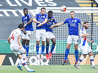 LEICESTER, ENGLAND - JULY 04: Luka Milivojevic of Crystal Palace strikes a free kick over the Leicester City wall during the Premier League match between Leicester City and Crystal Palace at The King Power Stadium on July 4, 2020 in Leicester, United Kingdom. Football Stadiums around Europe remain empty due to the Coronavirus Pandemic as Government social distancing laws prohibit fans inside venues resulting in all fixtures being played behind closed doors. (Photo by MB Media)