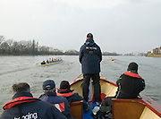 London, Great Britain. Oxford, OUBC [Blue Boat] v. Leander Club, view frmo the Umpires Launch, as Leander take an early lead,  Pre Boat race fixture over the Championship Course  River Thames. Single race piece - Putney to Chiswick Pier.  on Saturday  12/03/2011 [Mandatory Credit; Karon Phillips/Intersport Images]..Crews:.Oxford OUBC: Bow Moritz HAFNER, Ben MYERS, Dave WHIFFIN,  Ben ELLISON,  Karl HUDSPITH,  Alec DENT,  George WHITTAKER, Stroke Constantine LOULOUDIS, Cox Sam WINTER-LEVY. ..Leander: Bow Oliver HOLT,  Will GRAY,  Graham HALL,  John CLAY,  James ORME,  Tom CLARK,  Ben DUGGAN, Stroke David LAMBOURN, Cox Alex OLIJNYK..