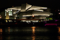 Night View of Center of Performing Arts in Miami, also Called Carnival Center, and Biscayne Bay.