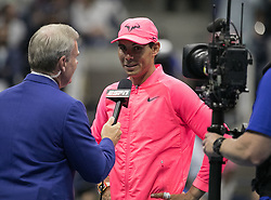 September 6, 2017 - Flushing Meadows, New York, U.S - Rafael Nadal is interviewed after winning his match on Day Ten of the 2017 US Open against Andrey Rublev at the USTA Billie Jean King National Tennis Center on Wednesday September 5, 2017 in the Flushing neighborhood of the Queens borough of New York City. 6-1, 6-2, 6-2. JAVIER ROJAS/P (Credit Image: © Prensa Internacional via ZUMA Wire)