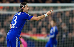 Filipe Luís of Chelsea celebrates after first goal of Chelsea during football match between Chelsea FC and NK Maribor, SLO in Group G of Group Stage of UEFA Champions League 2014/15, on October 21, 2014 in Stamford Bridge Stadium, London, Great Britain. Photo by Vid Ponikvar / Sportida.com