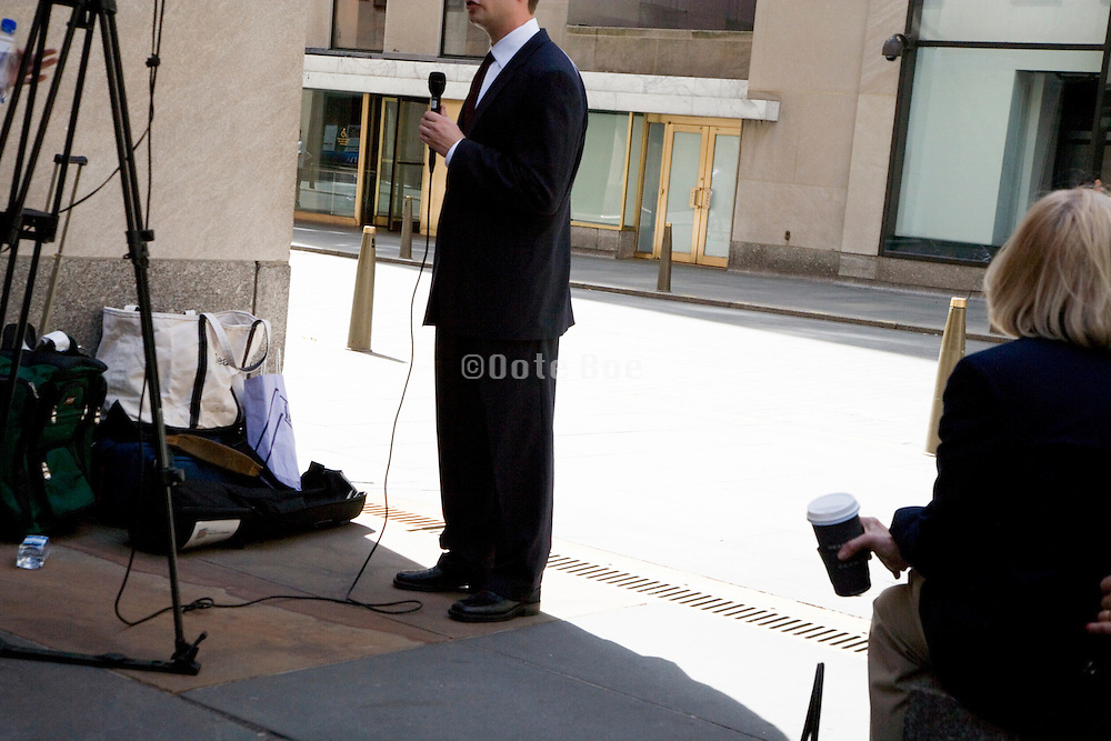 broadcaster at work near Rockefeller Center in NYC