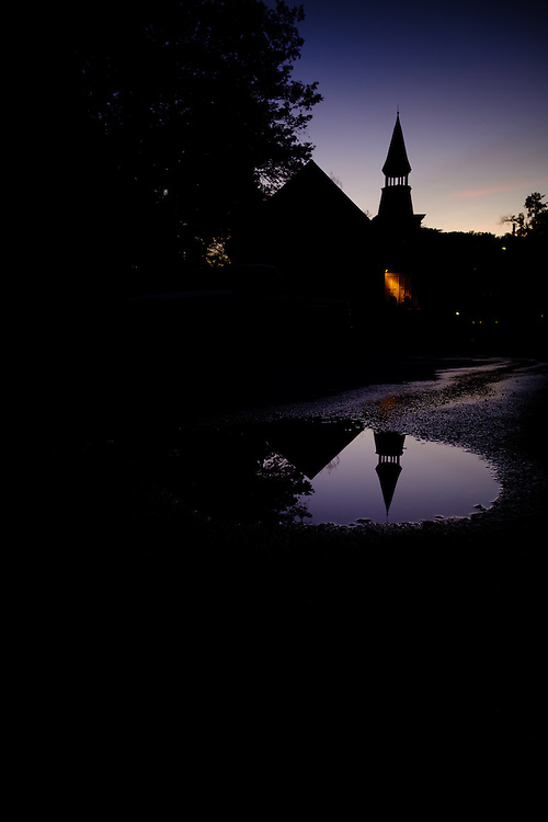 Church and reflection in historic Oella, Maryland.
