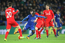 N'Golo Kante of Leicester City (C) in action against Liverpool - Mandatory byline: Jack Phillips/JMP - 02/02/2016 - FOOTBALL - King Power Stadium - Leicester, England - Leicester City v Liverpool - Barclays Premier League