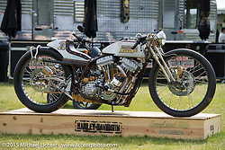 Matt Harris's custom Twin Cam at the Harley-Davidson display in Sturgis City park venue during the 75th Annual Sturgis Black Hills Motorcycle Rally.  SD, USA.  August 7, 2015.  Photography ©2015 Michael Lichter.