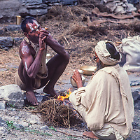 Hindu sadhus on a pilgrimage to Muktinath Temple in Nepal enjoy ab break to smoke hashish, a regular ritual in their quest for enlightenment.