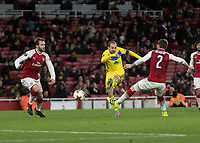 Football - UEFA 2017 / 2018 Europa League - Group H: Arsenal vs. FC BATE Borisov<br /> <br /> Igor Stasevich (FC BATE Borisov)  gives his fans something to cheer about as he gets a shot on goal at The Emirates.<br /> <br /> COLORSPORT/DANIEL BEARHAM