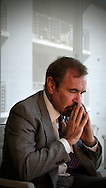 2-7-2009 AL DIAZ / MIAMI HERALD STAFF -- Developer Jorge Perez ranks among the biggest high-rice residential builders in the country, but now is facing the biggest challenge in his long career due to the economy..Here, Perez is interviewed inside his office at Related.. AL DIAZ / MIAMI HERALD STAFF.