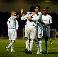Photo: Jed Wee/Sportsbeat Images.<br />Doncaster Rovers v Bolton Wanderers. The FA Cup. 06/01/2007.<br /><br />Bolton's Idan Tal congratulates scorer Andranik (16).