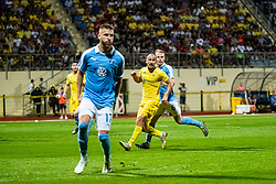 Tonci Mujan of NK Domzale and Oscar Lewicki of Malmo FF during Football match between NK Domzale and Malmo FF in Second Qualifying match of UEFA Europa League 2019/2020, on July 25th, 2019 in Sports park Domzale, Domzale, Slovenia. Photo by Grega Valancic / Sportida