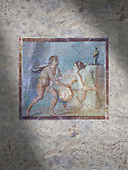 Roman Erotic Fresco from Pompeii, 1st cent AD , workshop Banner showing Mercury with a massive phalus , Secret Museum or Secret Cabinet, Naples National Archaeological Museum .<br /> <br /> If you prefer to buy from our ALAMY PHOTO LIBRARY  Collection visit : https://www.alamy.com/portfolio/paul-williams-funkystock - Scroll down and type - Roman Art Erotic  - into LOWER search box. {TIP - Refine search by adding a background colour as well}.<br /> <br /> Visit our ROMAN ART & HISTORIC SITES PHOTO COLLECTIONS for more photos to download or buy as wall art prints https://funkystock.photoshelter.com/gallery-collection/The-Romans-Art-Artefacts-Antiquities-Historic-Sites-Pictures-Images/C0000r2uLJJo9_s0