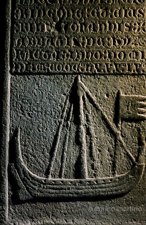 Hebrides, Iona island. Old gravestones of scottish princes and chieftains
