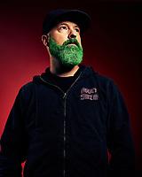 Cartoon Network Creative Director Ben Amick photographed for Adult Swim's Celebrity Poker.