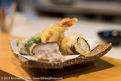 """Tempura plate from a 6-course dinner at Restaurant """"Tenryu"""" prepared by 82-year old Harley-Davidson riding Chef Ryutaro Nakamura, Japan. December 8, 2015.  Photography ©2015 Michael Lichter."""