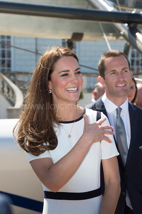 The Duchess of Cambridge attended a breakfast reception at The National Maritime Museum in Greenwich. The Duchess met supporters of the bid to launch a British Team for the America's Cup, headed by Sir Ben Ainslie. The Duchess met crew and boat designers before viewing an America's Cup class boat at the museum.<br /> Credit: Lloyd Images<br /> Rights free for editorial use.