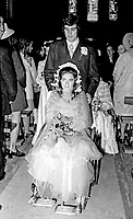 Wedding of Abercorn Restaurant bomb victim, Rosaleen McNern, pictured with her husband, Brendan Murrin, from Killybegs, Co Donegal, Rep of Ireland. They were married in Belfast 4th August 1972. 19720804028d<br /> <br /> Copyright Image from Victor Patterson,<br /> 54 Dorchester Park, <br /> Belfast, UK, BT9 6RJ<br /> <br /> Copyright Image from Victor Patterson, Belfast, UK<br /> <br /> t: +44 28 9066 1296 (from Rep of Ireland 048 9066 1296)<br /> m: +44 7802 353836<br /> <br /> victorpattersonbelfast@gmail.com<br /> <br /> www.victorpatterson.com OR <br /> www.images4media.com<br /> <br /> Please see my Terms and Conditions of Use at https://www.victorpatterson.com/page2<br /> It is IMPORTANT that you familiarise yourself with them.<br /> <br /> Images used on the Internet incur an additional cost and must be visibly watermarked i.e. © Victor Patterson within the body of the image and copyright metadata must not be deleted. Images used on the Internet have a size restriction of 4 kbs and are chargeable at rates available at victorpatterson.com.<br /> <br /> This image is only available for the use of the download recipient i.e. television station, newspaper, magazine, book publisher, etc, and must not be passed on to any third party. It is also downloaded on condition that each and every usage is notified within 7 days to victorpattersonbelfast@gmail.com.