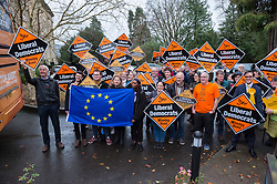 © Licensed to London News Pictures. 10/12/2019. Bath, Bath and North East Somerset, UK. General Election 2019; Lib Dem activists gather to wave off Jo Swindon, leader of the Liberal Democrats Party, after a rally with Liberal Democrat activists in Bath at the Bailbrook House Hotel, followed by national canvassing in the constituency. But Swinson walked past them and didn't stop. She discussed the findings that Brexit is costing the British public £350 million a week, money that could be invested in the NHS. The Bath MP before the election was called was the Lib Dems Wera Hobhouse. Photo credit: Simon Chapman/LNP.