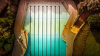 Aerial view of a closed swimming pool during the lockdown, Germany