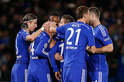 Cesc Fabregas of Chelsea celebrates scoring a goal from the penalty spot to make it 1-0 - Photo mandatory by-line: Rogan Thomson/JMP - 07966 386802 - 10/12/2014 - SPORT - FOOTBALL - London, England - Stamford Bridge - Sporting Clube de Portugal - UEFA Champions League Group G.