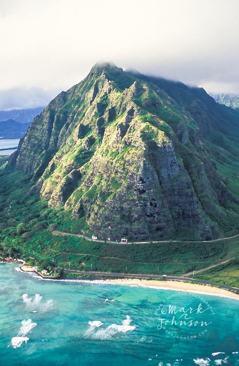Aerial view of Mo'o Kapu O Haloa, Kualoa, Oahu, Hawaii
